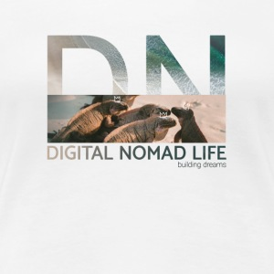 "Digital Nomad ""Iguana"" ~ Bianco Edition - Premium-T-shirt dam"