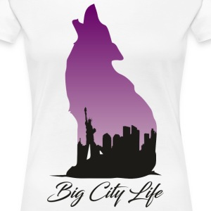 Wolf i New York Design - Big City Life - Premium-T-shirt dam