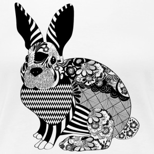 Hase / mythical creature with checks and floral pattern - Women's Premium T-Shirt