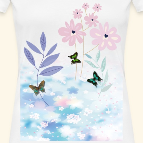 Flower Power Pastels with 3 Butterfly's - Women's Premium T-Shirt