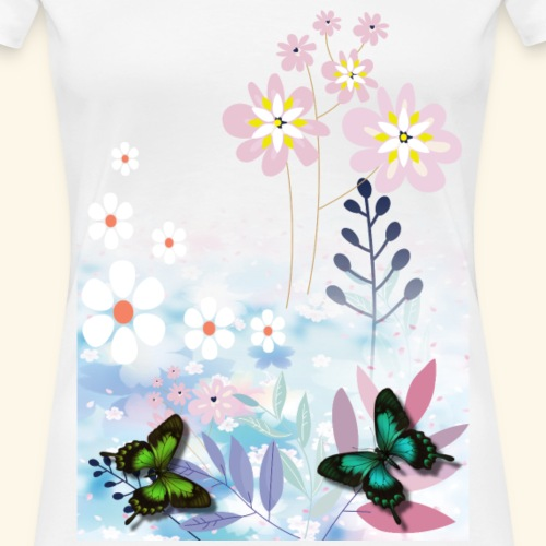 Pastel Flower Power with Butterfly's - Women's Premium T-Shirt