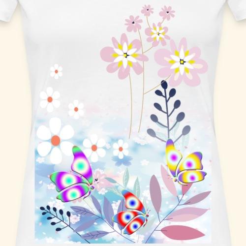 Pastel Flower Butterflys - Women's Premium T-Shirt