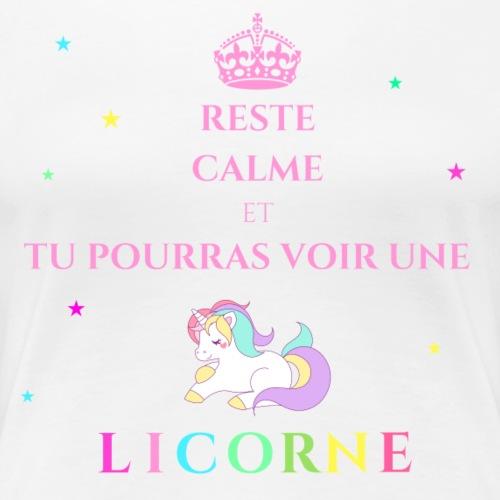 Reste calme licorne rose - T-shirt Premium Femme