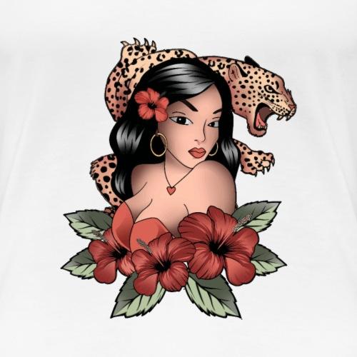 OldSchoolTattooGirlwithLeopard - Frauen Premium T-Shirt