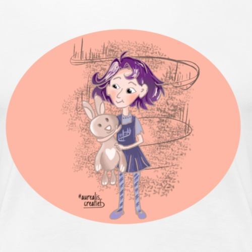 fille avec lapin - T-shirt Premium Femme