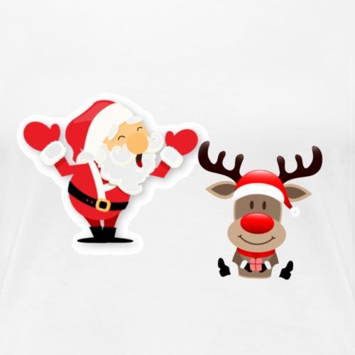 Santa and Rudolph - T-shirt Premium Femme