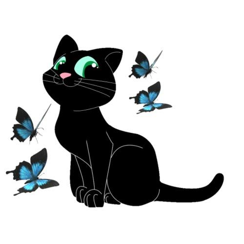chat noir et les papillons - T-shirt Premium Femme