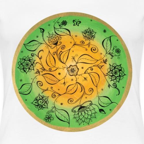 Mandala Fröhliches Naturspiel handgemalt - Frauen Premium T-Shirt