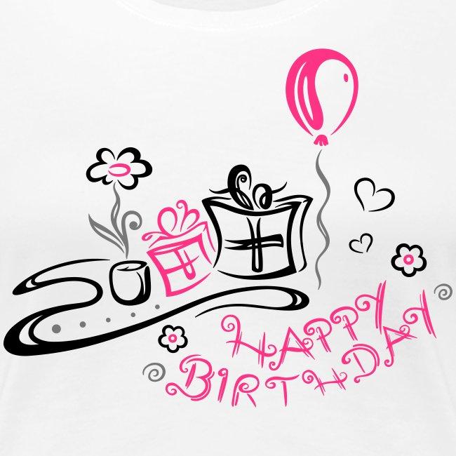 Joyeux Anniversaire Felicitations T Shirt Premium Femme Merch And Beauties
