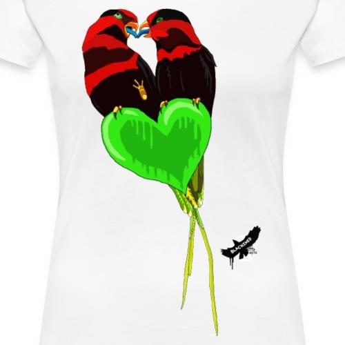 Lovebirds by BlackenedMoonArts, w. logo - Dame premium T-shirt