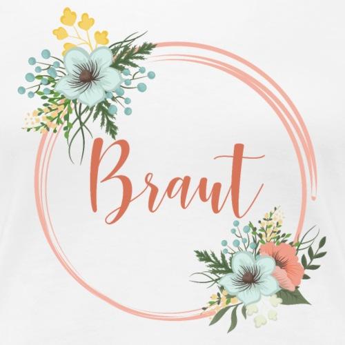 Braut - florales Motiv mit Blumenkranz - Women's Premium T-Shirt