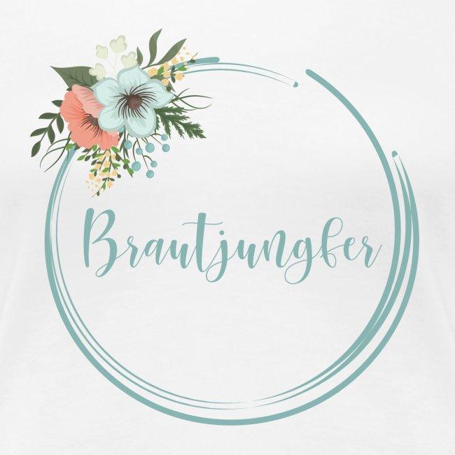 Brautjungfer - florales Motiv in blau