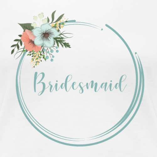 Bridesmaid - floral motif in blue - Women's Premium T-Shirt