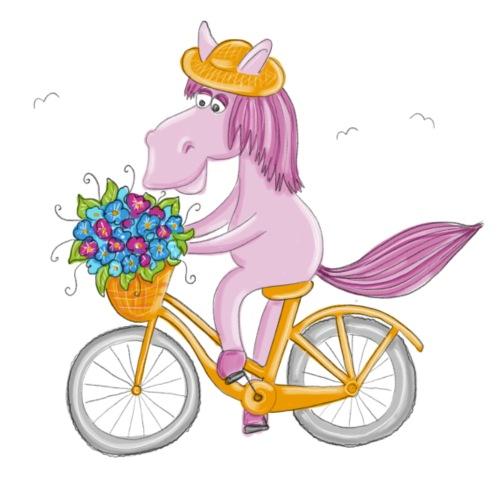 Pferd auf Fahrrad - Frauen Premium T-Shirt