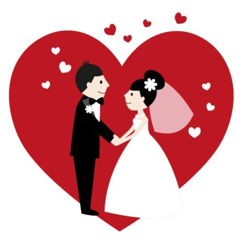 Hochzeitspaar im Comic Stil mit Rotem Herz - Frauen Premium T-Shirt