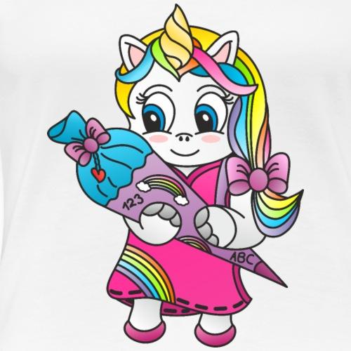 Einhorn Schultüte - Frauen Premium T-Shirt