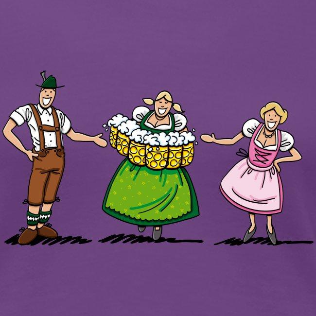 Couple Welcomes Oktoberfest Beer Waitress