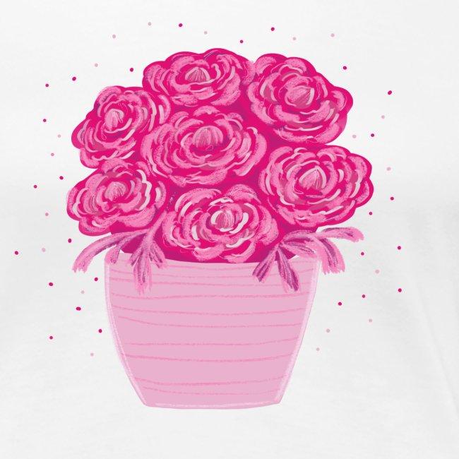 Ranunkeln, Blumen in Pink handgezeichnet