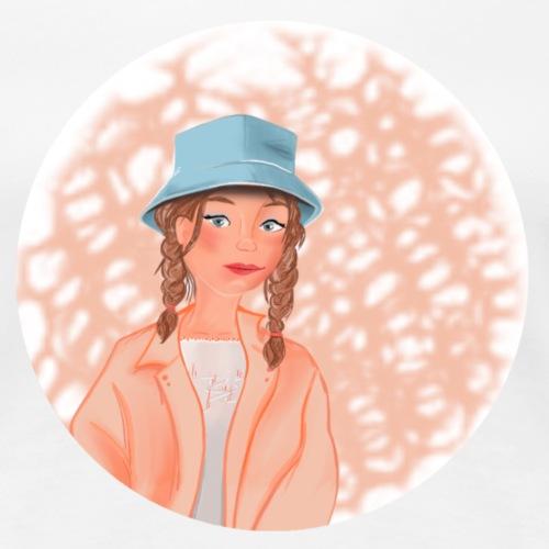 Fille joyeuse avec chapeau bleu - T-shirt Premium Femme