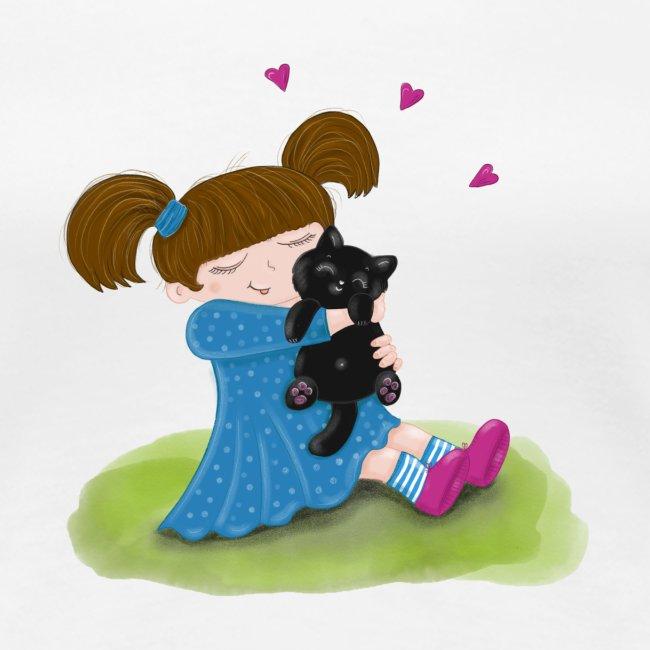 Katzenliebe - Mädchen knuddelt ihre schwarze Katze