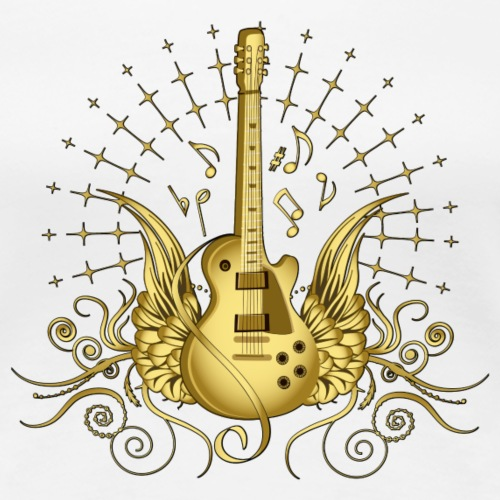 Golden Winged Guitar - Women's Premium T-Shirt