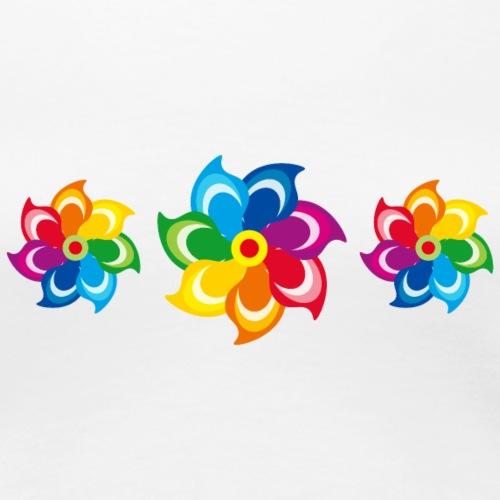bunte Windmühlen Kinderspielzeug Regenbogen Sommer - Women's Premium T-Shirt