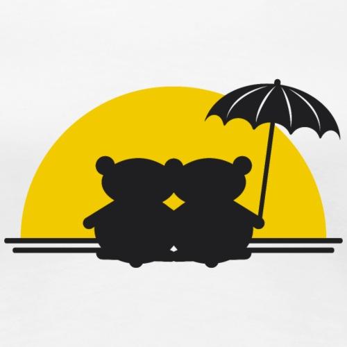 Teddybär Sonnenuntergang romantisch Insel Love - Women's Premium T-Shirt