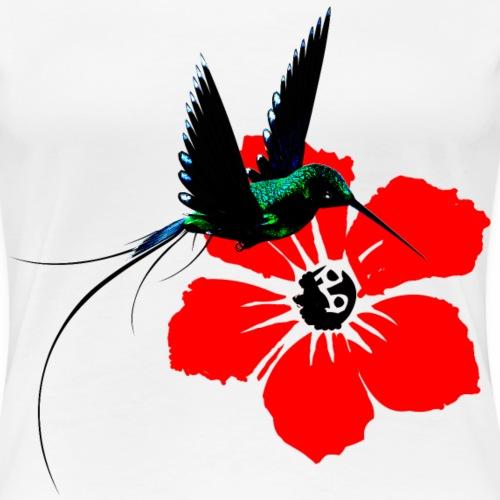 Kolibrie mit Blüte - Frauen Premium T-Shirt