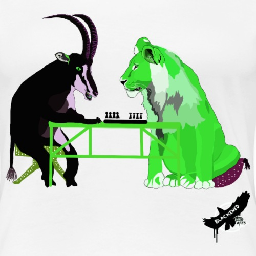 Playing Senet by BlackenedMoonArts, green w. logo - Dame premium T-shirt