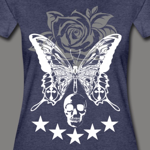 Butterfly and the Rose with Skull #2 - Frauen Premium T-Shirt