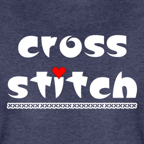Cross Stitch Small Heart White Text - Women's Premium T-Shirt
