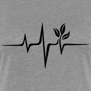 Vegan pulse, plant, frequency, heartbeat, beat, V - Women's Premium T-Shirt