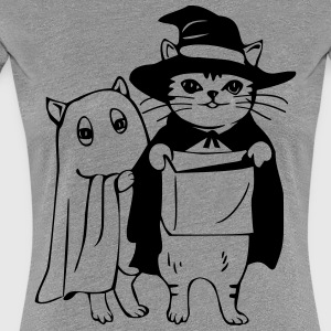 Cat dressed as a witch for Halloween - Women's Premium T-Shirt