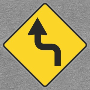Road Sign left curvy way - Women's Premium T-Shirt