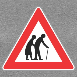 Road sign Old people red - Women's Premium T-Shirt