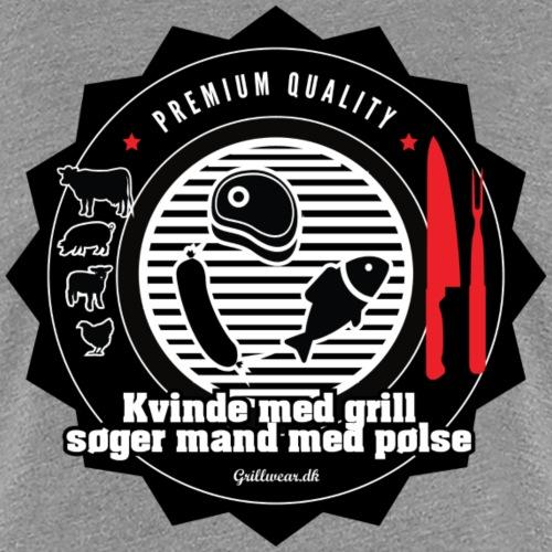 KVINDEMEDGRILL png - Dame premium T-shirt