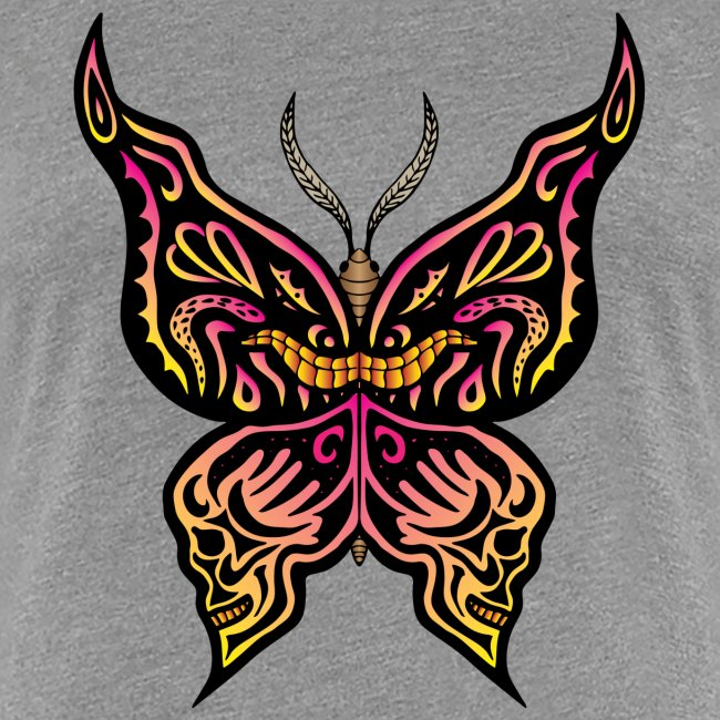 Tribal butterfly with face and skulls drawn on the