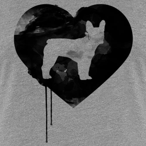 Französische Bulldogge Herz mit Silhouette - Frauen Premium T-Shirt