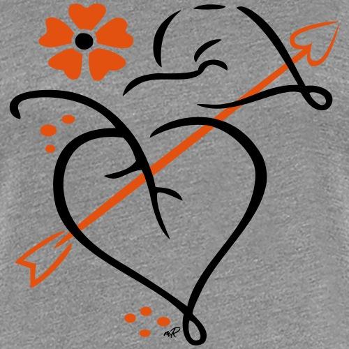 Blüte mit Amor Pfeil, Liebe - Frauen Premium T-Shirt