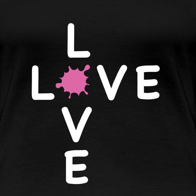 LOVE Cross white klecks pink 001