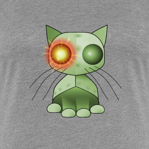 robotkatt grön med gulrött lysande öga - Women's Premium T-Shirt