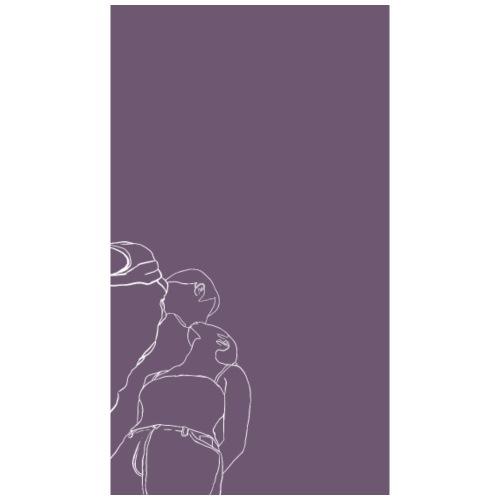 Line art kisses purple - Dame premium T-shirt