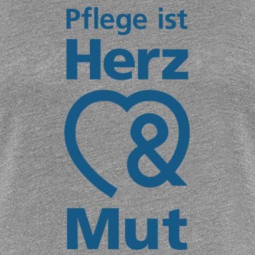 Pflege ist Herz & Mut (blau) - Frauen Premium T-Shirt