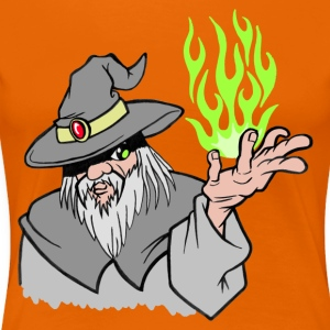 Willpower Wizard Grey / Green Flame - No Text - Women's Premium T-Shirt