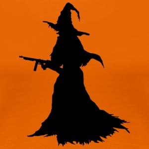 Witch with Assault Rifle / AK for Halloween - Women's Premium T-Shirt
