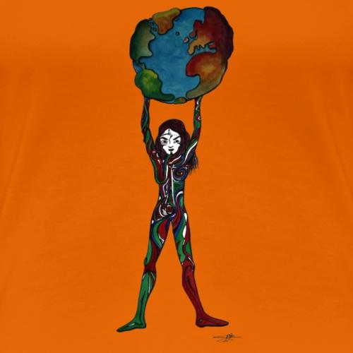 la femme porte le monde à bout de bras - T-shirt Premium Femme