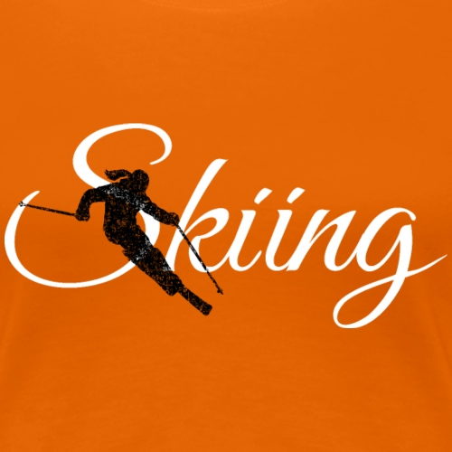 Skiing Skifahrerin (Weiss) Wintersport Apres-Ski - Frauen Premium T-Shirt