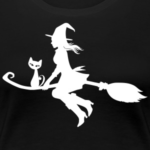 Witch on broom with cat - Women's Premium T-Shirt