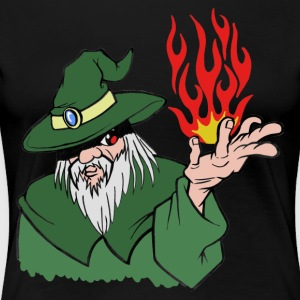 Willpower Wizard Green/Red Flame - No Text - Vrouwen Premium T-shirt