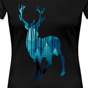 Deer in the woods in the evening - Women's Premium T-Shirt